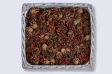 Square Wicker Basket Full Of Pine Cones Isolated On White Background