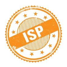 ISP Text Written On Orange Grungy Round Stamp.