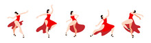 Elegant Woman In A Red Dress Dancing A Latin American Dance. Set Of Vector Images.
