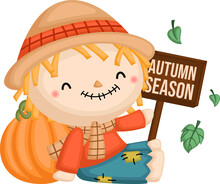 A Vector Of A Cute Scarecrow Holding A Sign