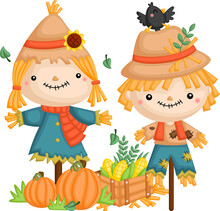 A Vector Of A Scarecrow Couple With Some Pumpkin And Corn