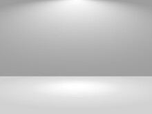 Grey Studio Empty Background. Light Template Room Place For Advertising And Displaying Product. Vector Illustration