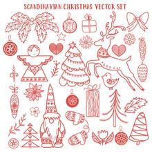Scandinavian Christmas Vector Doodle Set. Angel, Gnome, Reindeer, Christmas Trees, Bird, Mittens, Christmas Balls, Stars, Stylized Flowers, Poinsettia, Pine Cone.