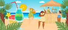Beach Vacation At Summer Sea, Vector Illustration, Tiny Man Woman Character At Tropical Bar, Fruit Cocktail Glass Near Palm, Ocean Nature.