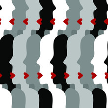 Abstract Hand Drawing Women Girls Faces Silhouettes With Red Lips  Seamless Vector Pattern Geometric Yellow Background