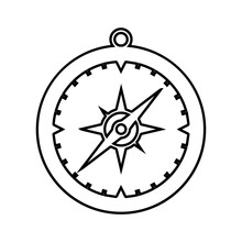 The Compass Icon. A Device That Facilitates Orientation On The Terrain By Pointing To The Magnetic Poles Of The Earth And The Cardinal Directions. Vector Illustration Isolated On A White Background.