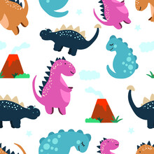 Cute Dinosaurs, Cloud, Volcanoes On A White Background. Children's Colorful Print, Seamless Pattern. Vector Hand Drawn Illustration
