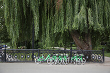 Crowd Of Green Bicycles On Parking  In Street