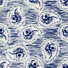 Indigo Dyed Fabric Flower Pattern Texture. Seamless Textile Fashion Cloth Dye Resist All Over Print. Japanese Kimono Block Print. High Resolution Batik Effect Repeatable Swatch.