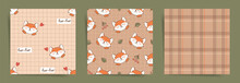 Set Of Autumn Seamless Patterns With Foxes And Geometric Ornaments. Cute Fox Faces Unisex Seamless Pattern Tiles For Print, Fabric, Textile Or Paper. Tartan, Checkered And Foxes Background Design Set.