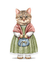 Watercolor Vintage Girl Striped Domestic Kitten In Dress Holding Little Handbag Isolated On White Background. Hand Drawn Illustration Sketch