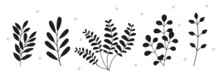 Collection Of Dark Silhouettes Of Plants. Hand-drawn Branches With Leaves Of Various Shapes. Design Elements For Posters, Logos And Stickers. Cartoon Flat Vector Set Isolated On White Background