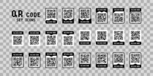 QR Code, Scan Me Set Icons For Mobile Device Design. Vector Isolated Sign