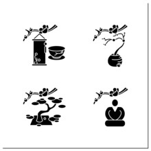 Japanese Tea Ceremony Glyph Icons Set. Seiza Position, Flower Arrangement, Hanging Scrolls. Japan Ancient Tradition. Tea Ceremony Concept.Filled Flat Signs. Isolated Silhouette Vector Illustrations