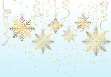 Postcard, Banner With Branches And Snowflakes On A Light Background.