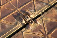 Metal Fastening Of The Pontoon Bridge Closeup