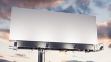 Advertising Billboard. Empty Outdoor Sign Against A Dusk Sky. Design Template.