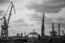 Ship Moored On The Quay Of The Repair Shipyard In Gdańsk