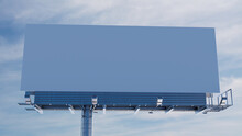 Commercial Billboard. Blank Large Format Sign Against A Hazy Morning Sky. Mockup Template.