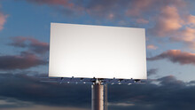 Advertising Billboard. Blank Exterior Sign Against A Dusk Sky. Design Template.