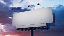 Commercial Billboard. Blank Exterior Sign Against A Stormy Evening Sky. Design Template.