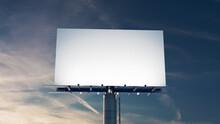 Marketing Billboard. Empty Outdoor Sign Against A Dusk Sky. Mockup Template.