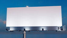 Commercial Billboard. Empty Outdoor Sign Against A Sunset Evening Sky. Mockup Template.