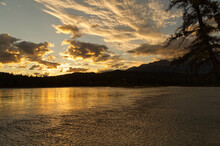 A Glowing Sunset Over Athabasca River