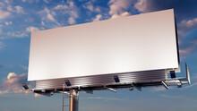 Advertising Billboard. Empty Large Format Sign Against A Dusk Sky. Design Template.