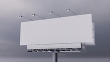 Advertising Billboard. Blank Exterior Sign Against An Overcast Morning Sky. Mockup Template.