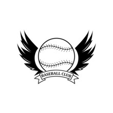 Baseball Logo Icon Vector, Sports Player Hitting The Ball And Running, Retro Concept