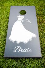 Corn Hole Board Saying Bride.