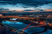 Urban Scenery Of Bridge With Taipei Skyline In Taiwan During Nighttime