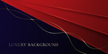 Red And Dark Blue Background With Gold Line