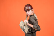 Working Woman. Female Builder Hold Shovel. Building And Construction.