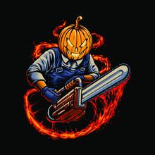 Halloween Pumpkin With Chainsaw Illustration
