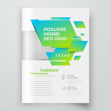Flyer Cover Design Template Squares Style Green Color, Blocks For Images