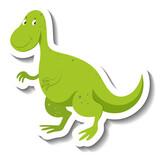 Fototapeta Dinusie - Cute green dinosaur cartoon character sticker