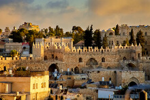 Sunrise Over Damascus Gate And The Ancient Rooftops Of The Old City Of Jerusalem, Israel