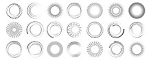 A Lot Of Dotted Circulars Icons. Abstract Futuristic Art Design. Geometric Shape. Vector Illustration. Stock Image.