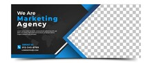 Business Banner Template Design. Modern Banner With A Dark Background And Blue Frame. Vector Design With Place For The Photo. Usable For Banner, Cover, Header, And Background.