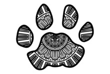 Cat Paws With Mandala Pattern