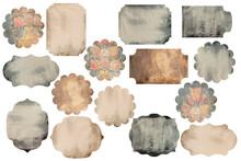 Vintage Scrapbook Embellishments. Labels, Gift Tags Set On White Background. Junk Journal Printable