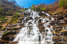 Mae Ya Waterfall Is One Of The Most Beautiful Waterfalls And  At Doi Inthanon National Park In Chiang Mai, Thailand.