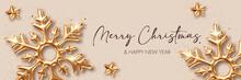Christmas Background With Three Dimensional Golden Snowflakes. Design Element For Greeting Card