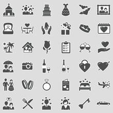 Wedding Icons. Sticker Design. Vector Illustration.