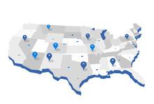Mappa Geografica Degli Stati Uniti Con Dei Pin