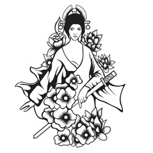 Beautiful Japanese Geisha Woman And Traditional Katana Sword Black And White Vector Design