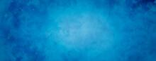 Blue Background Texture With Distressed Vintage Grunge And Shiny Spotlight Center Design Dark Border Vignette