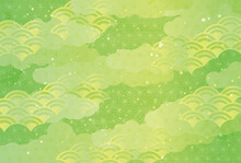 和柄背景 イラスト 黄緑
